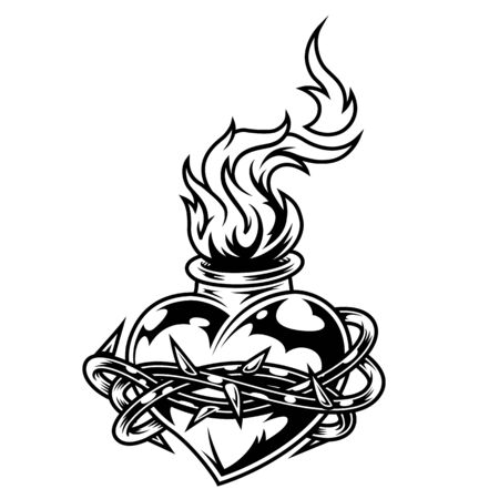 Vintage monochrome fiery heart template with barbed wire around it isolated vector illustration