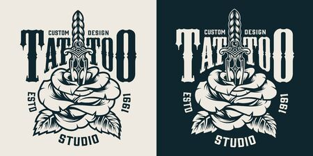 Monochrome tattoo studio badge with beautiful rose pierced with elegant dagger in vintage style isolated vector illustration  イラスト・ベクター素材