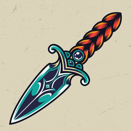 Vintage colorful dagger concept with elegant handle isolated vector illustration