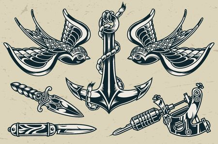 Vintage tattoo designs monochrome set with anchor flying swallows knives tattoo machine isolated vector illustration