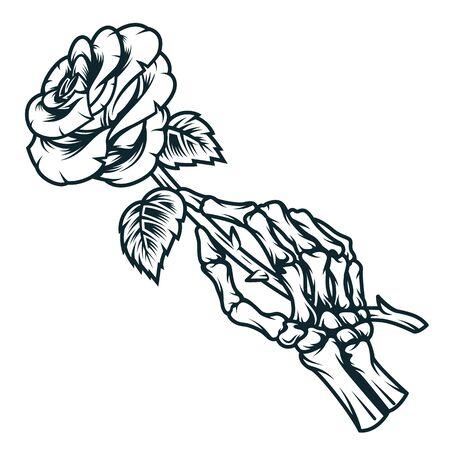 Mano esquelética que sostiene la flor color de rosa en el ejemplo aislado del vector del estilo monocromático de la vendimia
