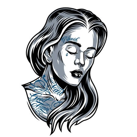 Vintage beautiful Chicano girl with tattoos on her face and neck isolated vector illustration