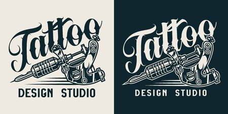 Vintage tattoo studio monochrome logo with professional tattoo machine isolated vector illustration