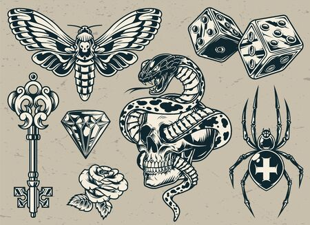 Vintage tattoos set with medieval key dices cross spider butterfly diamond rose flower snake entwined with skull in monochrome style isolated vector illustration Ilustracja