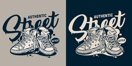 Monochromer College-Street-Style-Print mit Sneakers im Vintage-Stil isolierte Vektorillustration