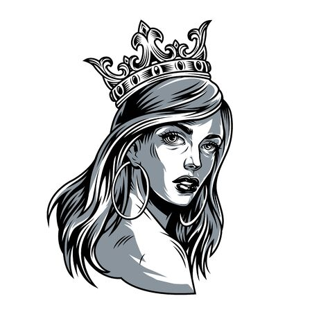Vintage pretty woman in crown with long hair and round earrings isolated vector illustration Stockfoto - 129230223