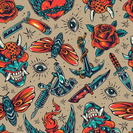 Vintage colorful tattoos seamless pattern with demon head knives straight razor butterfly roses fiery winged heart in barbed wire eye anchor tattoo machine vector illustration Ilustracja