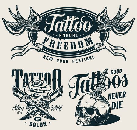 Vintage tattoo salon monochrome prints with crossed military knives rose skull pierced with dagger swallows keep ribbon with Freedom inscription isolated vector illustration Ilustracja