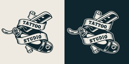 Vintage tattoo studio print with ribbon around straight razor in monochrome style isolated vector illustration