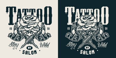 Vintage tattoo salon monochrome   with beautiful rose and crossed tattoo machines isolated vector illustration
