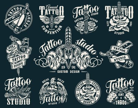 Vintage tattoo studio labels with rose pierced with dagger tattoo machine flying swallow butterfly straight razors anchor fiery heart in barbed wire with angel wings isolated vector illustration