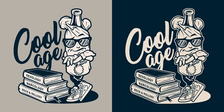 Vintage college monochrome print with stylish bottle in paper bag character and stack of books isolated vector illustration
