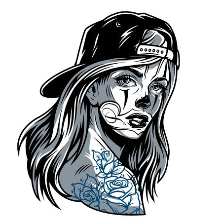 Vintage attractive girl in baseball cap with chicano style tattoos isolated vector illustration Illustration