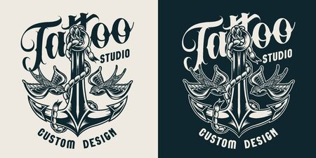 Tattoo studio monochrome label with ship anchor and flying swallows in vintage style isolated vector illustration