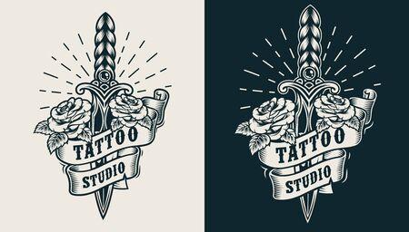 Vintage monochrome tattoo studio emblem with dagger roses and ribbon isolated vector illustration Ilustracja
