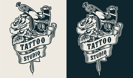 Tattoo studio emblem with professional tattoo machine and rose flower in vintage monochrome style isolated vector illustration