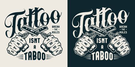 Vintage tattoo studio label with male hands holding crossed straight razors in monochrome style isolated vector illustration