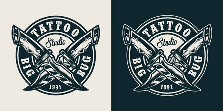 Vintage monochrome tattoo studio round badge with crossed military knives isolated vector illustration