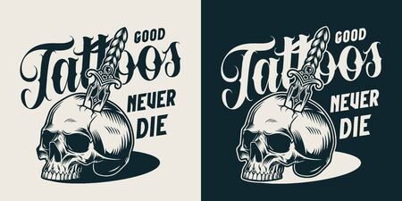 Vintage tattoo salon monochrome label with skull pierced with dagger isolated vector illustration  イラスト・ベクター素材