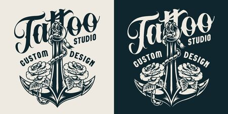 Vintage tattoo studio print with ship anchor and roses in monochrome style isolated vector illustration Çizim
