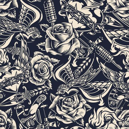 Vintage monochrome tattoos seamless pattern with beautiful roses swallow knife tattoo machine heart in barbed wire with fire vector illustration Banque d'images - 129237474