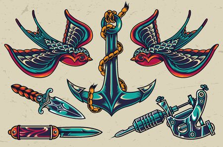 Vintage colorful flash tattoos collection with swallows sharp knives tattoo machine ship anchor isolated vector illustration
