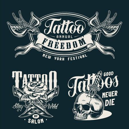 Vintage tattoo studio monochrome badges with swallows keep ribbon in beaks crossed knives rose flower skull pierced with dagger isolated vector illustration