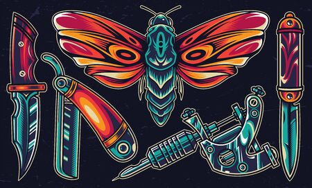 Vintage colorful flash tattoos set with beautiful butterfly straight razor tattoo machine pocket and military knives isolated vector illustration Çizim