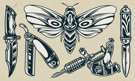 Vintage flash tattoos monochrome set with butterfly military knives straight razor tattoo machine isolated vector illustration