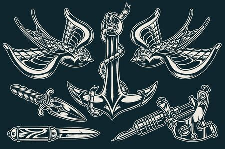 Vintage flash tattoos collection with flying swallows ship anchor tattoo machine dagger pocket knife on dark background isolated vector illustration Banque d'images - 129237517