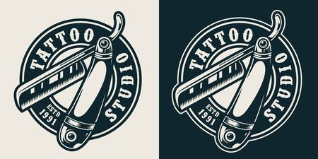Monochrome tattoo studio round label with straight razor in vintage style isolated vector illustration