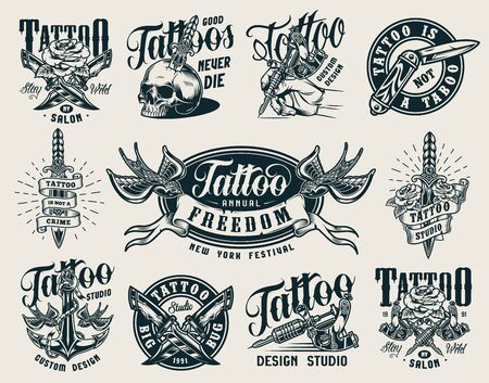 Vintage monochrome tattoo studio badges with crossed military knives tattoo machines skull pierced with dagger anchor flying swallows roses isolated vector illustration