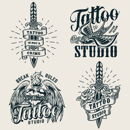Vintage tattoo studio monochrome with daggers flying swallow holding rose in beak fiery heart in barbed wire with angel wings isolated vector illustration