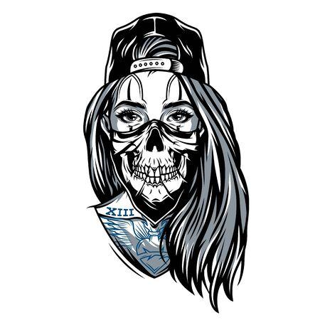 Fille de chicano de gangster avec le masque de crâne portant la casquette de baseball dans l'illustration de vecteur d'isolement de style vintage