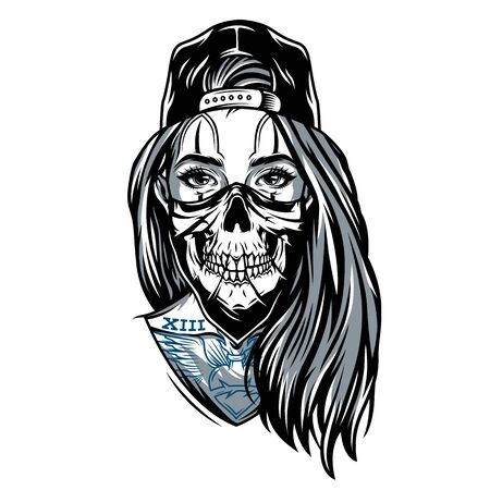 Gangster chicano girl with skull mask wearing baseball cap in vintage style isolated vector illustration Çizim