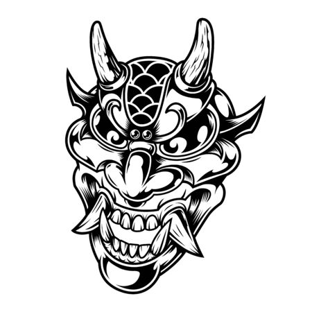 Vintage scary demon head concept in monochrome style isolated vector illustration