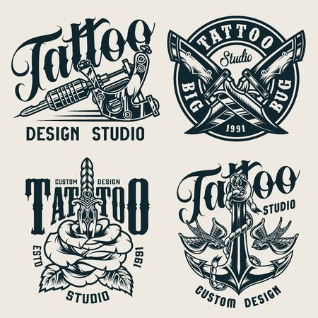 Vintage tattoo studio monochrome labels with tattoo machine crossed military knives anchor flying swallows rose pierced with knife isolated vector illustration