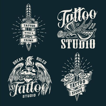 Monochrome tattoo salon prints with swallow keeps rose in its beak daggers fiery heart with angel wings and barbed wire in vintage style isolated vector illustration Archivio Fotografico - 129237694