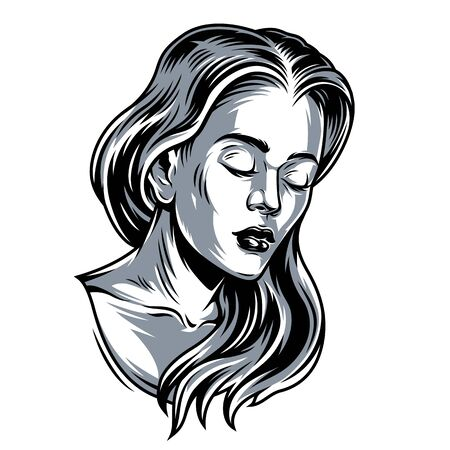 Pretty sad girl with long hair in vintage monochrome style isolated vector illustration Çizim