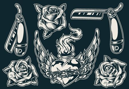 Vintage monochrome tattoos composition with straight razors roses fiery winged heart in barbed wire isolated vector illustration