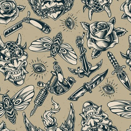 Vintage flash tattoos monochrome seamless pattern with straight razor knife dagger anchor devil head tattoo machine butterfly roses all seeing eye fiery winged heart vector illustration Illustration