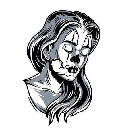 Vintage attractive sad girl with long hair and flash tattoo on face in monochrome style isolated vector illustration