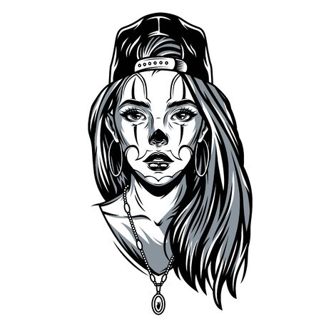 Chicano girl in backwards baseball cap with earrings necklace and tattoo on her face in vintage style isolated vector illustration