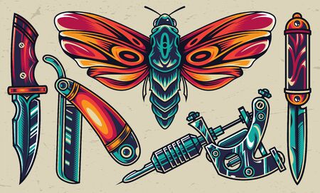 Colorful tattoo designs collection with pocket and military knives straight razor tattoo machine butterfly in vintage style isolated vector illustration Çizim