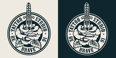 Vintage tattoo studio round label with rose pierced with dagger in monochrome style isolated vector illustration Ilustracja