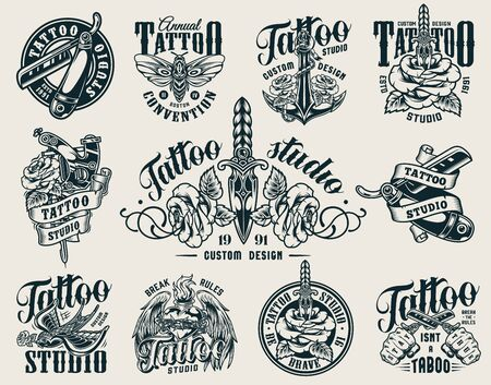 Vintage tattoo studio monochrome emblems with hands holding razors anchor butterfly rose pierced with dagger tattoo machine swallow fiery heart with angel wings isolated vector illustration