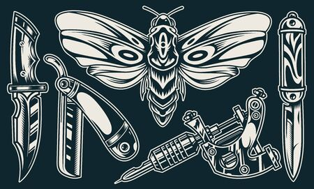 Vintage elegant flash tattoos composition with butterfly knives straight razor professional tattoo machine in monochrome style isolated vector illustration Stock Vector - 131929409