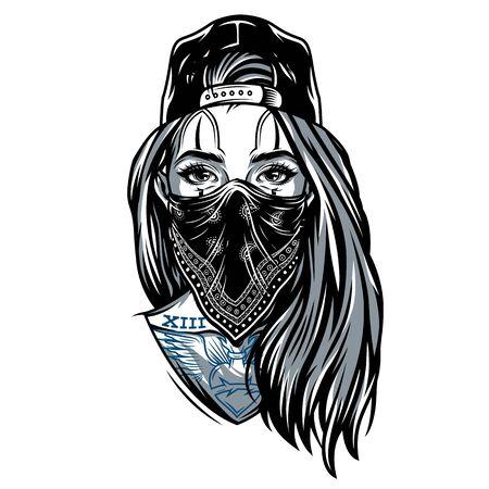 Fille de gangster vintage en casquette de baseball avec bandana sur son visage et tatouages de style chicano illustration vectorielle isolée Vecteurs