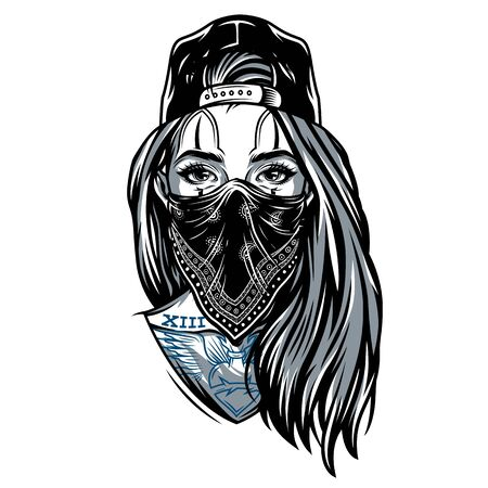 Vintage gangster girl in baseball cap with bandana on her face and chicano style tattoos isolated vector illustration