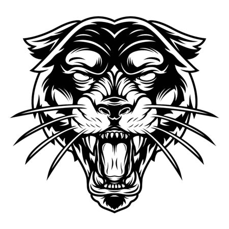 Monochrome ferocious panther head in vintage style isolated vector illustration